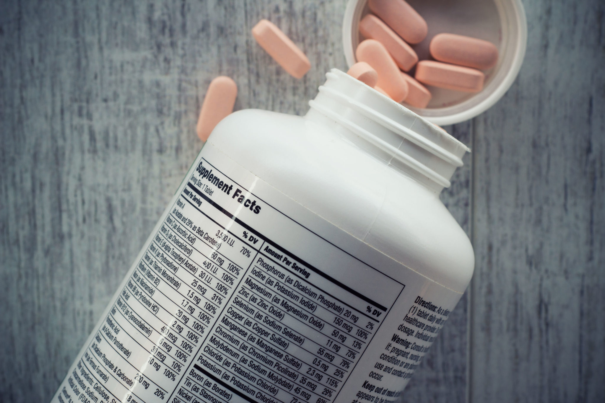 Supplement facts, Closeup of a bottle of vitamins